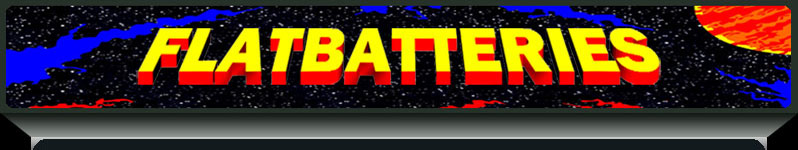 Flat Batteries arcade cabinet marquee